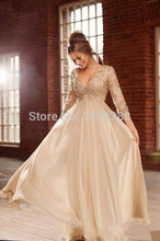 2014 New Arrival Sexy Deep V Neck Half Sleeves Champagne Chiffon Long Prom Dresses With Beaded Lace Top Formal Evening