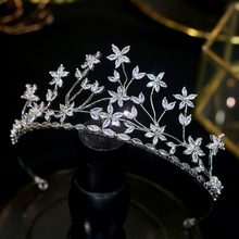 CZ wedding crown earrings zirconia flower headdress set and hair accessories