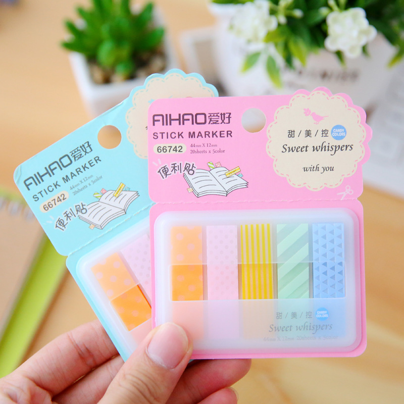 Sweet Quality Cute Kawaii Memo Pad Candy Colored Stick Markers Book Page Index Flag Sticky Notes Post It Office School Supplies