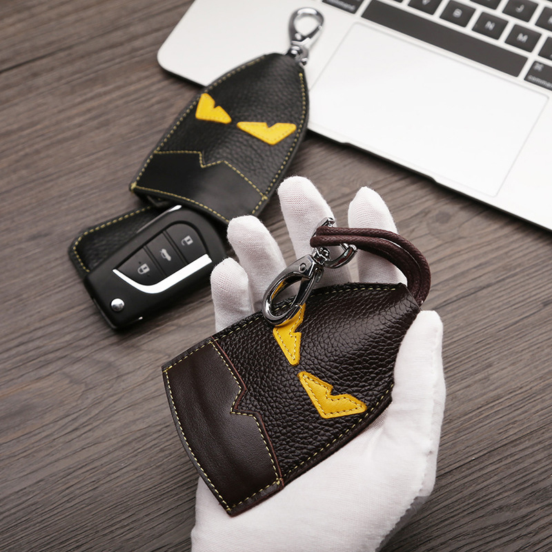 Luxury Real Leather Auto Key Bag Metal Key Ring Car Key Holder Leather Cowhide Monster Keychain Bag Charm Pendant Accessories keychain holder key ring with vine bottle pendant 3pcs