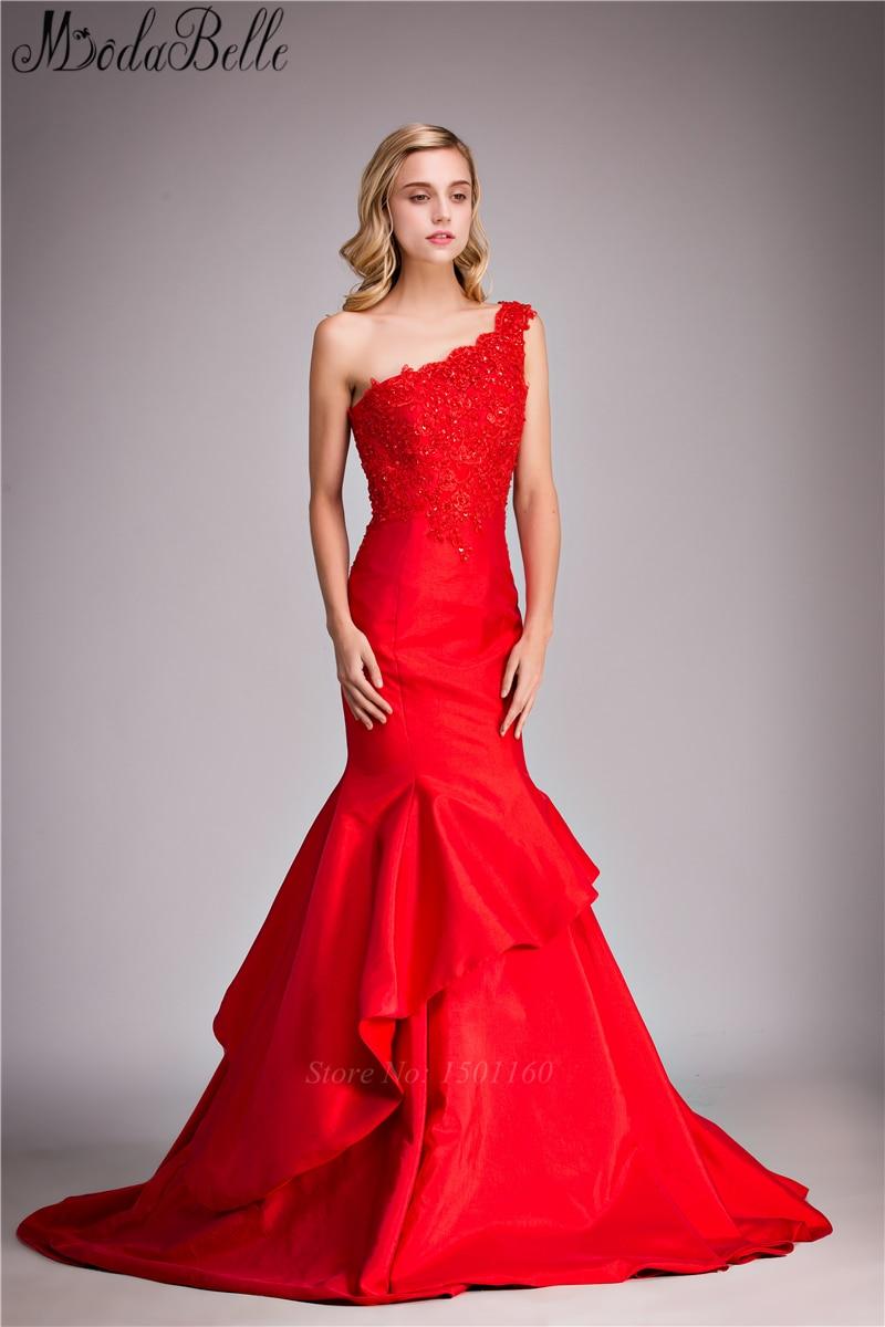 56cec8aaea0 Un hombro de encaje rojo largo modestos vestidos de graduación de la sirena  tafetán vestido de noche vestidos de baile vestidos para ocasiones  especiales en ...