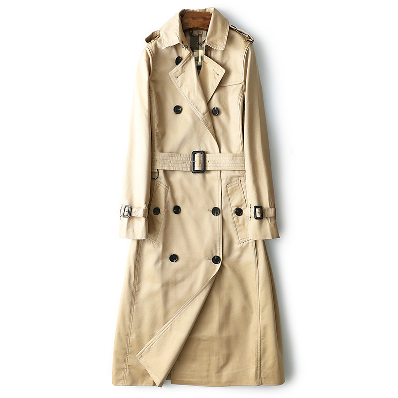 Women 2019 Spring Autumn Clothing Solid Color Lady Long over the knee Windbreak Double Breasted Slim Bur Women   Trench   Coat With