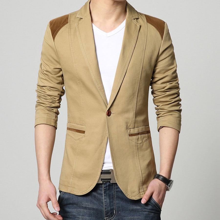 Mens khaki jacket casual - Black Khaki Coffe Men Blazer Slim Fit Knit Single Button Casual Business Suit Jacket Split Back