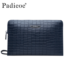 Padieoe Luxury Crocodile Pattern Men's Genuine Leather Men Clutch Bag Purses Fashion Cowhide Wallet Business Man Handbags