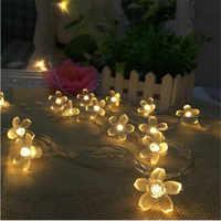 Conectado 10 M 50 ledes creativo flor de cerezo LED Cadena de hadas para sala de estar boda Festival Navidad Año Nuevo san Valentín
