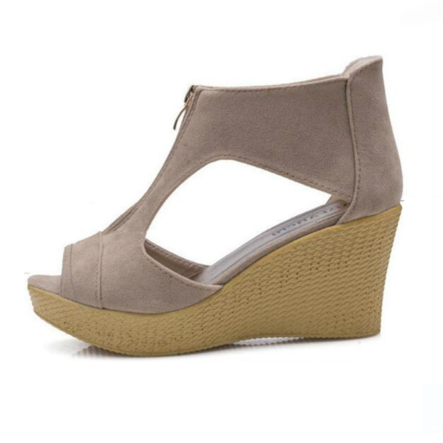 28aea5dec1 Shoes Woman Summer Sandals Platform Wedges Gladiator Sandals Women Flock  Fish Mouth High Heels Casual British Style High Quality