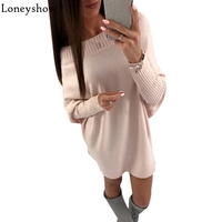 2017 Autumn Knitted Sweater Women Casual Loose Dress Quality Cute Solid Pink White Slash Neck Warm