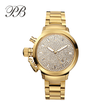 2016 Gold Crystal Famous Brand Luxury Watch Women Watches Miss Legend Relogio Feminino Quartz Watch TT HL600A PB