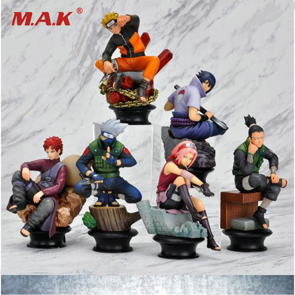 6 Pcs/set Naruto PVC Anime Action Figure Dolls Cool Uzumaki Hinata Madara Kakashi Classic Toys for Children Collections Gif
