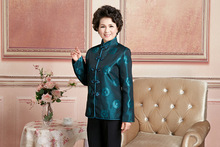 Chinese Traditional Coat Women's Silk Satin Dark Green Jacket  Size M-3XL m 3xl
