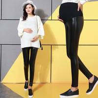 High Waist Maternity Pants Winter Thick Warm Faux Leather Leggings For Pregnant Women Lace&Velvet Maternity Leggings Winter