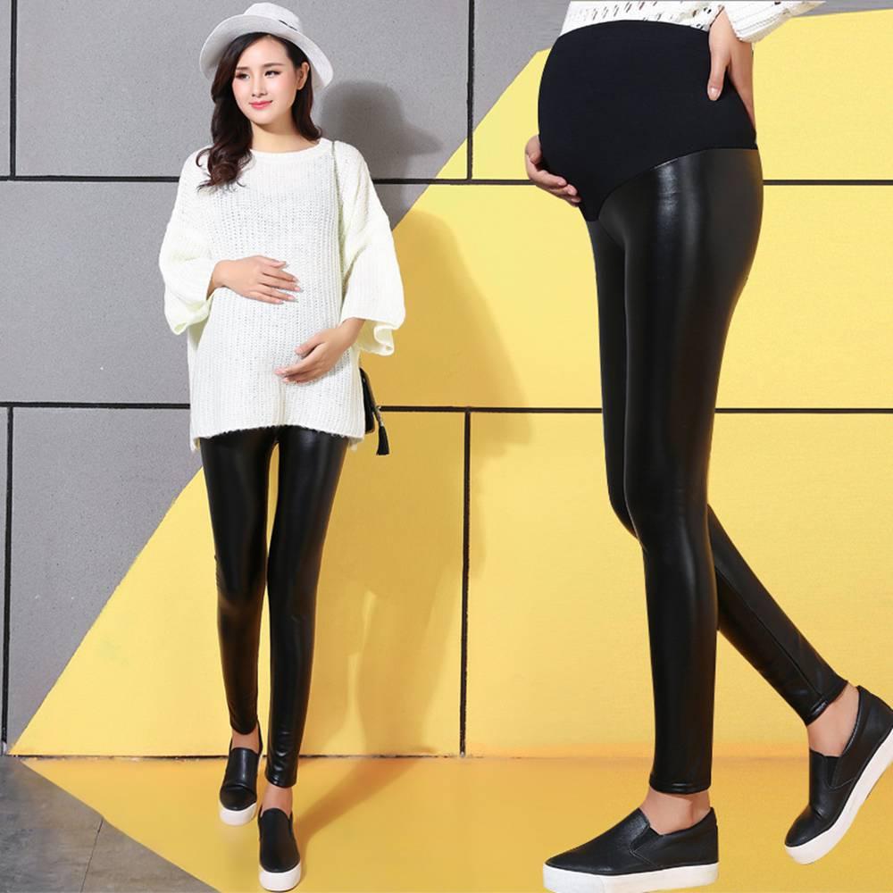 Weibliche warme Hose Mutterschaft Lederhose Schwangere Leggings f/ür Frauen Elastizit/ät Plus Samt Taille verstellbar