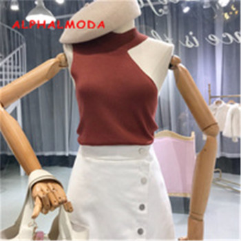 ALPHALMODA Asymmetric Shoulder Sleeveless Women Summer Chic Knitted Tank Top Stand Collar Slim Fit Ladies Summer Sexy Top