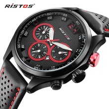 RISTOS Sport Men Watch Top Brand Luxury Calendar Octagon Leather Quartz Watches Military Waterproof Date Analog Wristwatch 2016