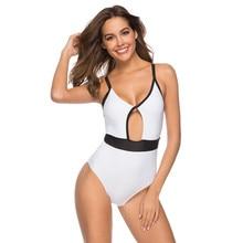 Plunge One Piece Women Swimsuit White Straps Bandage Swimwear Solid Plain Bathing Suit Backless Monokini Shapewear Halter Lady's цена 2017