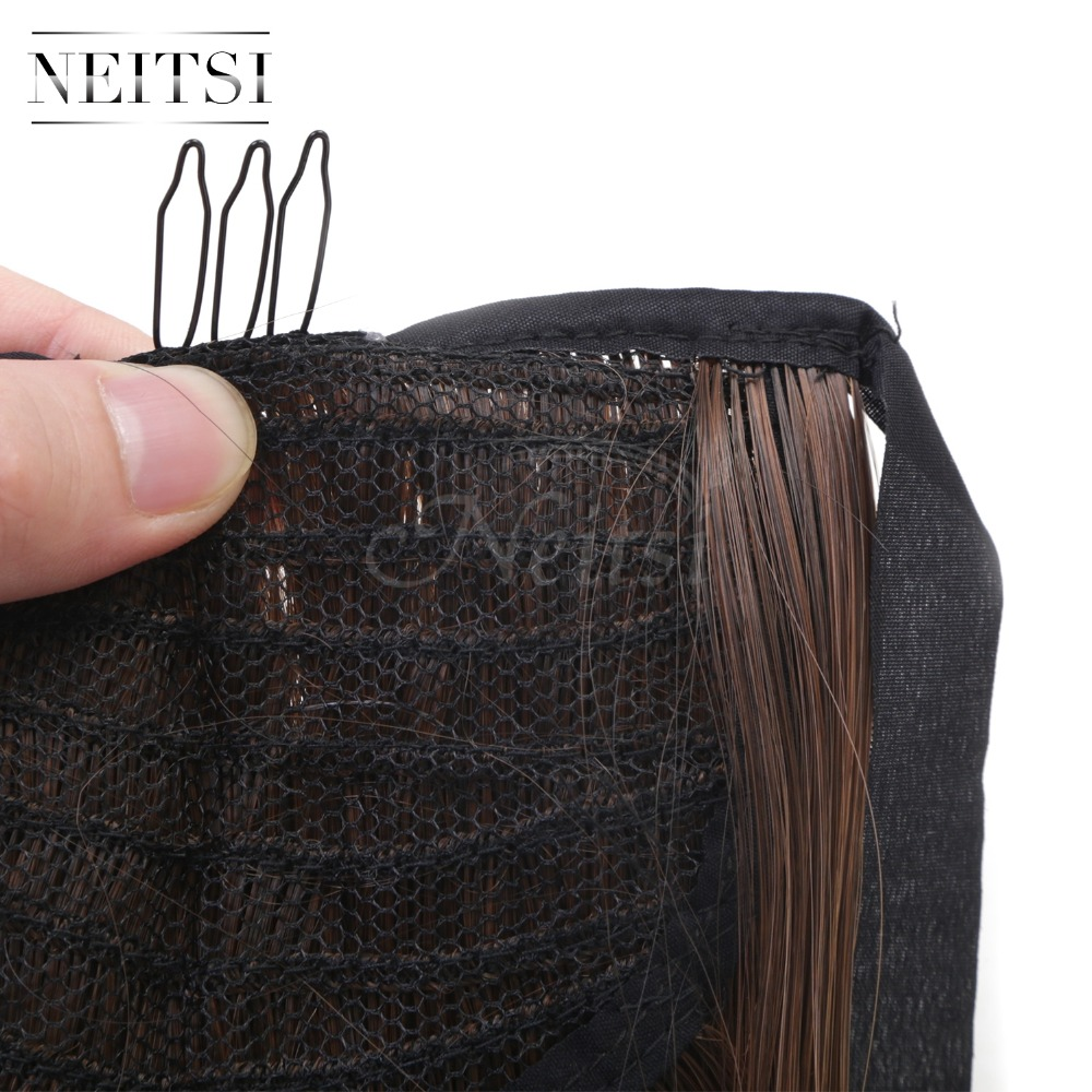 Купить с кэшбэком Neitsi Straight Long Clip In Hair Tail False Hair Ponytail Hairpiece With Hairpins Synthetic Hair M2-30#