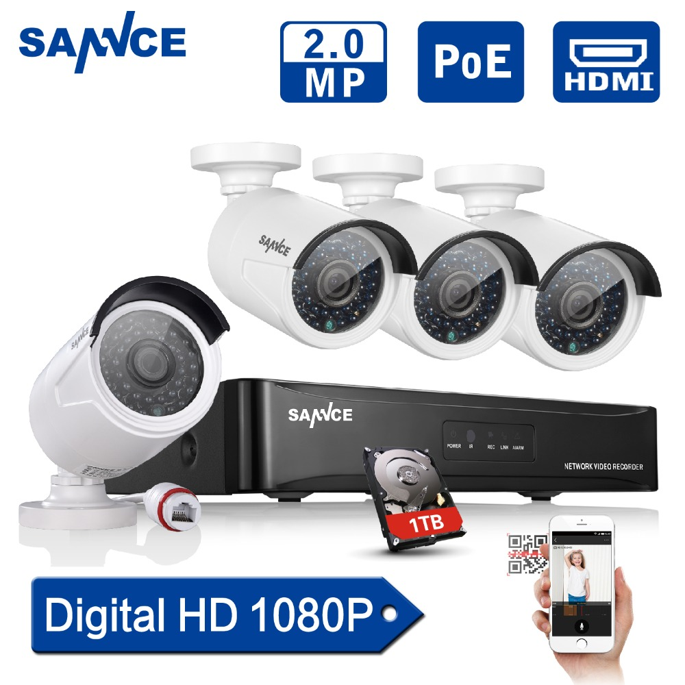 SANNCE 4CH POE 2.0MP 1080P NVR POE IP Network Camera System Outdoor CCTV Home Security System NVR Surveillance Kit 1TB HDD annke hd 1080p 2 0mp 4ch nvr network poe dome outdoor cctv security camera system surveillance kit 1tb hdd