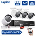 SANNCE 4CH POE 2.0MP 1080P NVR POE IP Network Camera System Outdoor CCTV Home Security System NVR Surveillance Kit 1TB HDD
