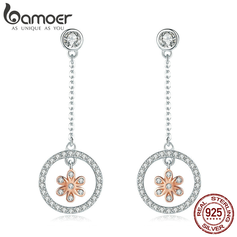 BAMOER High Quality 925 Sterling Silver Flower in Round Circle Long Chain Drop Earrings for Women Sterling Silver Jewelry SCE422 alloy bead chain circle drop earrings