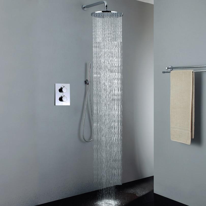 Thermostatic Bathroom Shower Set Chrome Bathroom Rain Shower Head Easy Installation Bath Mixer Fauet With Embedded Box Thermostatic Bathroom Shower Set Chrome Bathroom Rain Shower Head Easy Installation Bath Mixer Fauet With Embedded Box