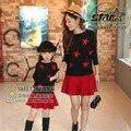 Estilo coreano Outono Inverno Combinando Roupas Da Família Mãe e Filha Set Lindo Twinkle Estrelas Camisola de Malha + Saia 2 pcs conjuntos