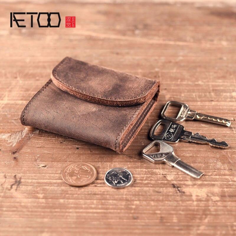BJYL Men's Women's Genuine Leather Coin Purse Zipper Wallet Card Holder Vintage Retro