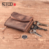 BJYL Men's Women's Genuine Leather Coin Purse Zipper Wallet Card Holder Vintage Retro