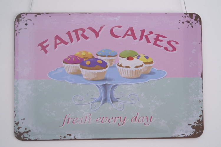 Fairy Cakes, Fresh Every DayVintage Tin Signs Retro Metal Plate ...