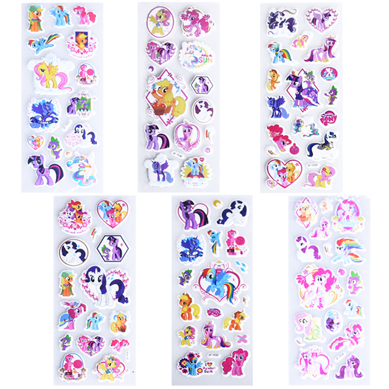 6 sheets/lot Cute Cartoon My Pony Stickers For Kids Fridge Decor On Laptop Cartoon Pony DIY 3D Sticker Decal Children Toys