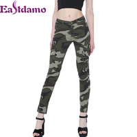Eastdamo Sexy High Waist Camouflage Jeans For Women Army Green Skinny Jeans Slim Pencil Denim Pants