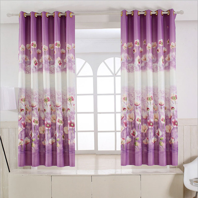 Pastoral Rustic Style Floral Curtains Short Kitchen Window Decoration Grommets Kids Room Printed Single Panel