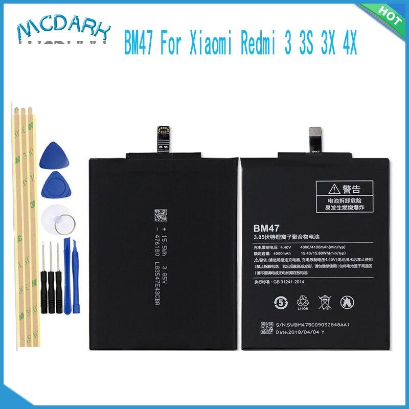 Mobile Phone Batteries Clever Bm47 4000mah Battery For Xiaomi Redmi 3 3s 3x 4x Hongmi 3 3s 3x 4x Bateria Batterij Accumulator+tools Cheap Sales Cellphones & Telecommunications