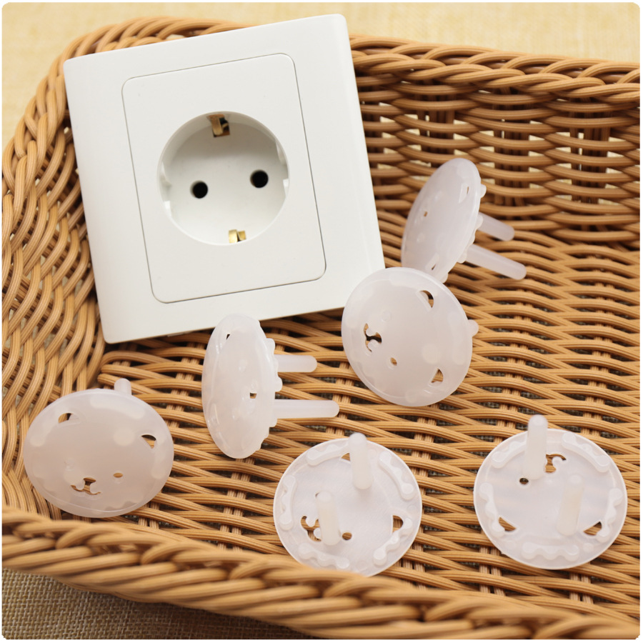 10pcs Bear EU Power Socket Anti Electric Shock Plugs Protector Cover Electrical Outlet Protection From Children Baby Safety