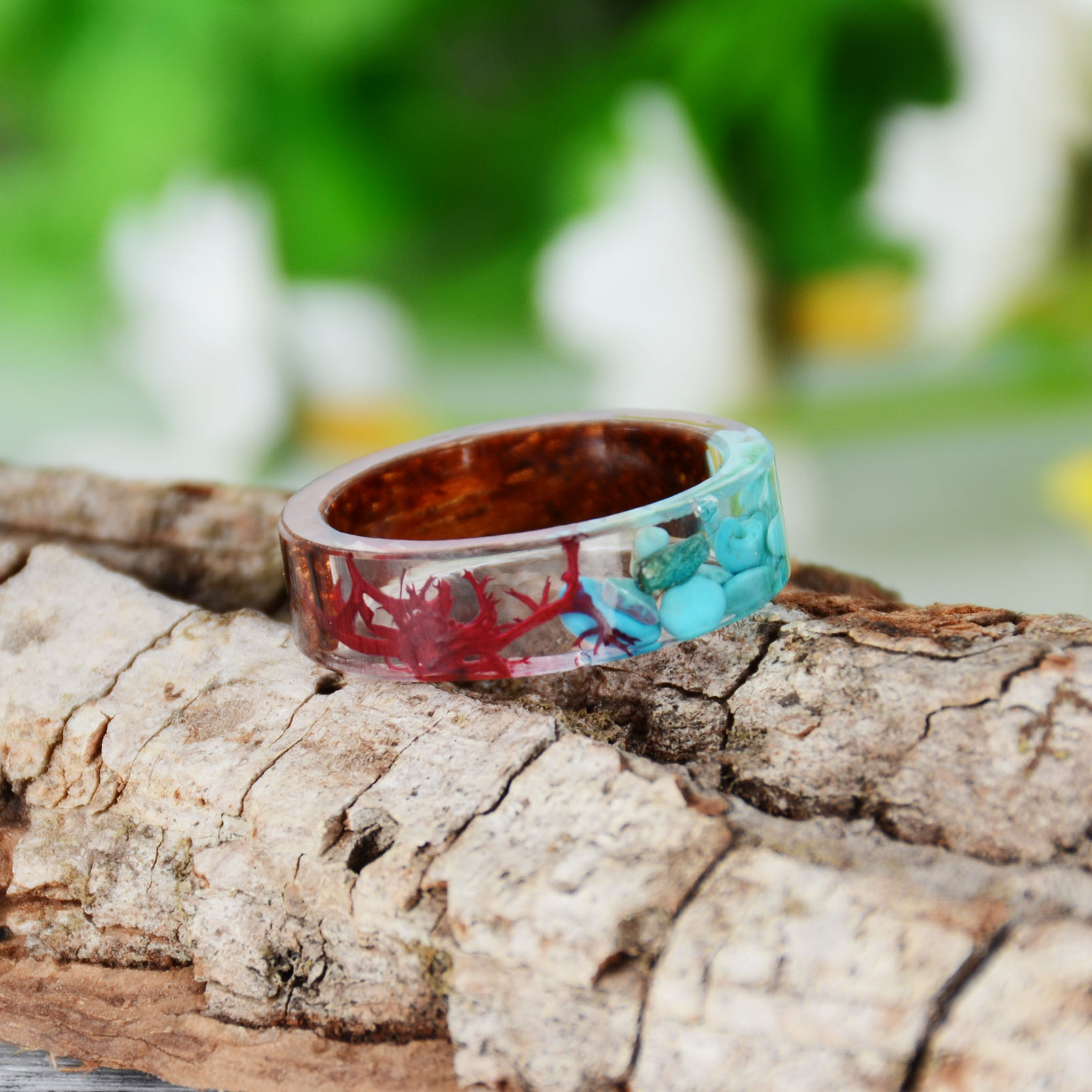 HTB12L1Ksj7nBKNjSZLeq6zxCFXag - Hot Sale Handmade Wood Resin Ring Dried Flowers Plants Inside Jewelry Resin Ring Transparent Anniversary Ring for Women