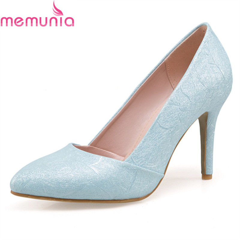 MEMUNIA 2018 new hot sale stiletto high heels pointed toe wedding shoes fashion slip-on solid soft leather women pumps new arrival genuine leather pointed toe high heels stiletto shallow metal buckle pumps slip on women brand wedding shoes l8f3