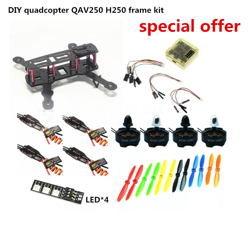 DIY FPV race mini drone QAV250 / ZMR250 H250 quadcopter frame kit pure carbon rack + D2204 + BLheli 12A ESC Special price new qav r 220 frame quadcopter pure carbon frame 4 2 2mm d2204 2300kv cc3d naze32 rev6 emax bl12a esc for diy fpv mini drone