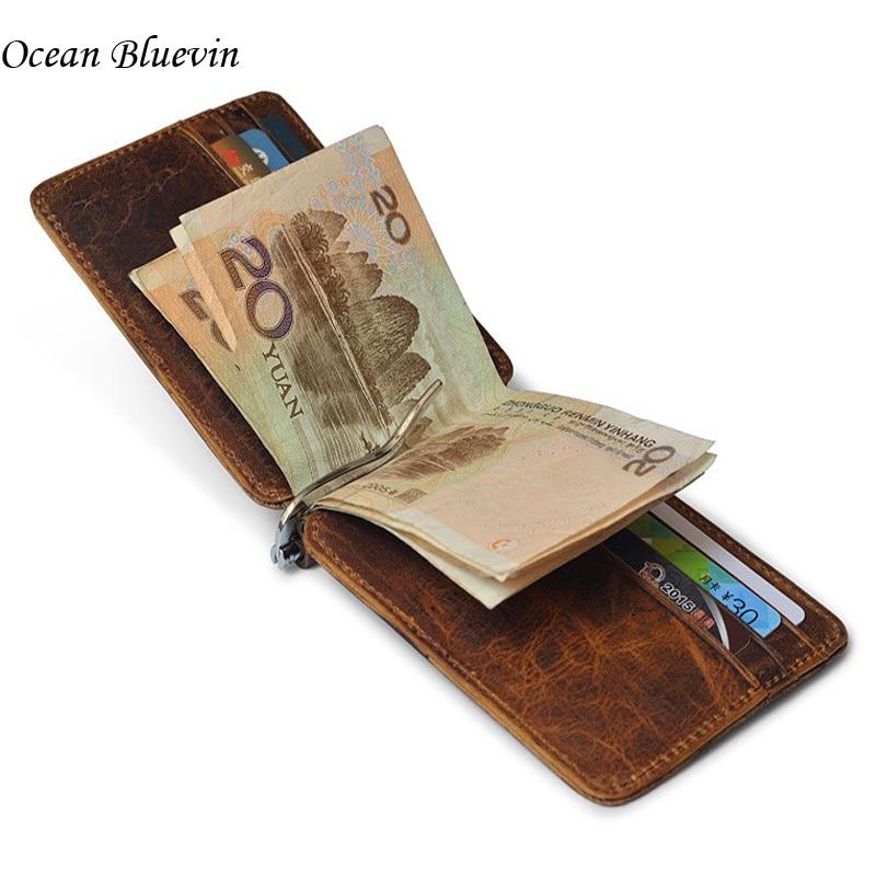 Qualité Mince Vintage Hommes Argent Clips Porte-Monnaie de 12 Carte Slots Véritable en cuir Pince Pour L'argent Titulaire ID Carte de Crédit Cas Cash Clip