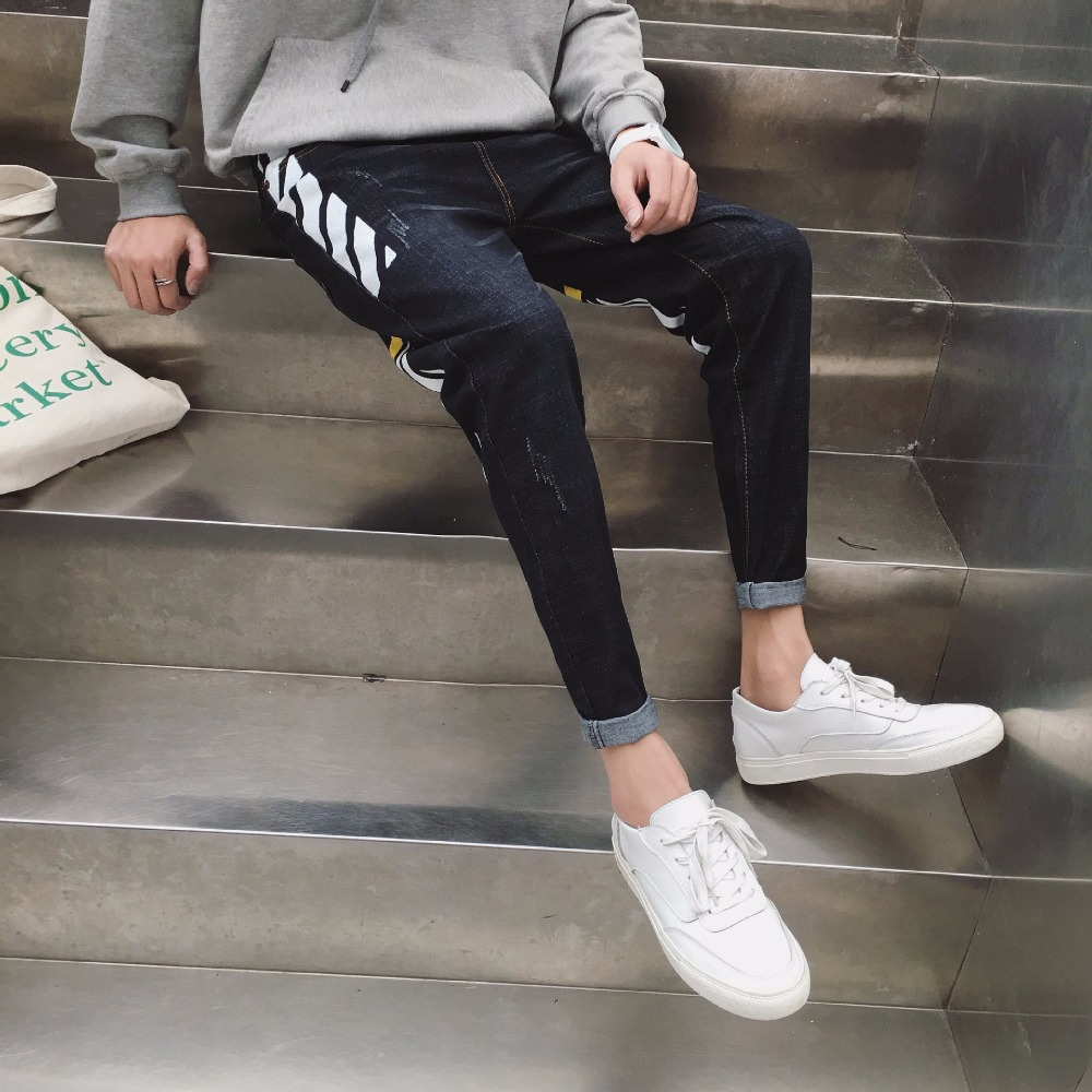 NEW 2020 Spring Autumn Jeans Boys Fertilizer Plus-size XXXL Striped Hip Hop Foot Trousers Haroun Pants Men's Trousers