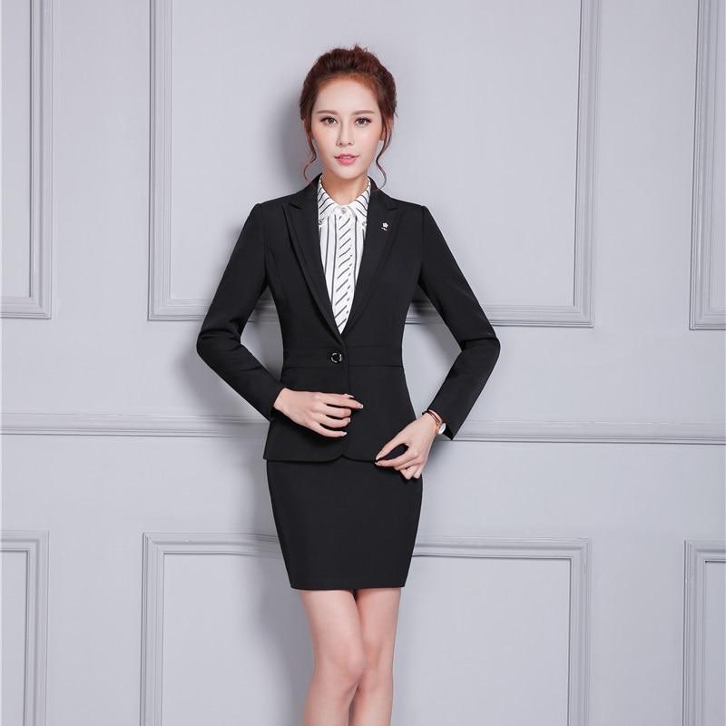 mujeres elegantes trajes de falda formal hembra chaqueta negro chaqueta delgada estilos uniformes seoras de la