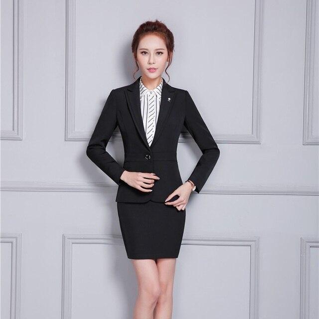 4056fcb02bf74 Formelle Femelle Noir Blazer Femmes Élégant Jupe Costumes Veste Slim Bureau  de Dames Uniformes Styles OL