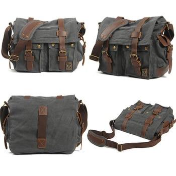 Luxury Cowboy Genuine Camera Bag Oilskin Leather Single Waterproof Shoulder Bags Canvas Bag Inner Tank SLR Camera Messenger Bags 1