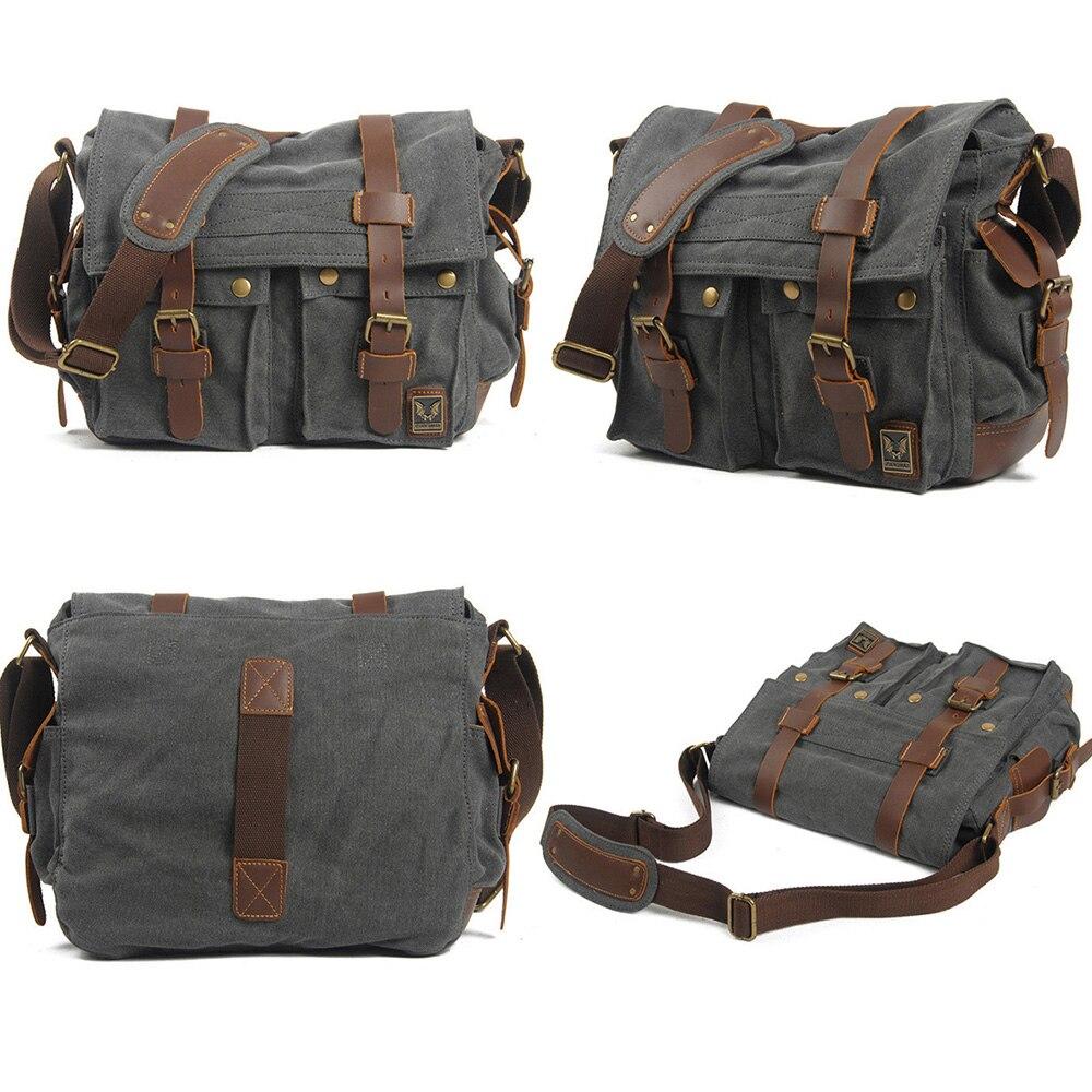 Luxury Cowboy Genuine Camera Bag Oilskin Leather Single Waterproof Shoulder Bags Canvas Bag Inner Tank SLR Camera Messenger Bags