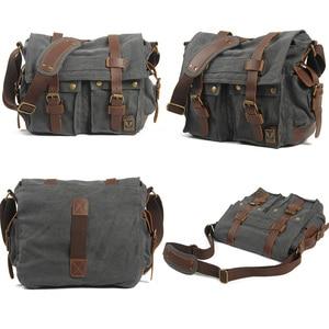 Image 2 - Luxury Cowboy Genuine Camera Bag Oilskin Leather Single Waterproof Shoulder Bags Canvas Bag Inner Tank SLR Camera Messenger Bags