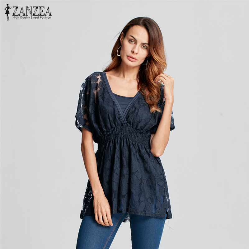 Summer ZANZEA Women 2018 Sexy   Blouses     Shirts   O Neck Short Sleeve Floral Lace Two Pieces Set Vest Casual Blusas Tops Plus Size