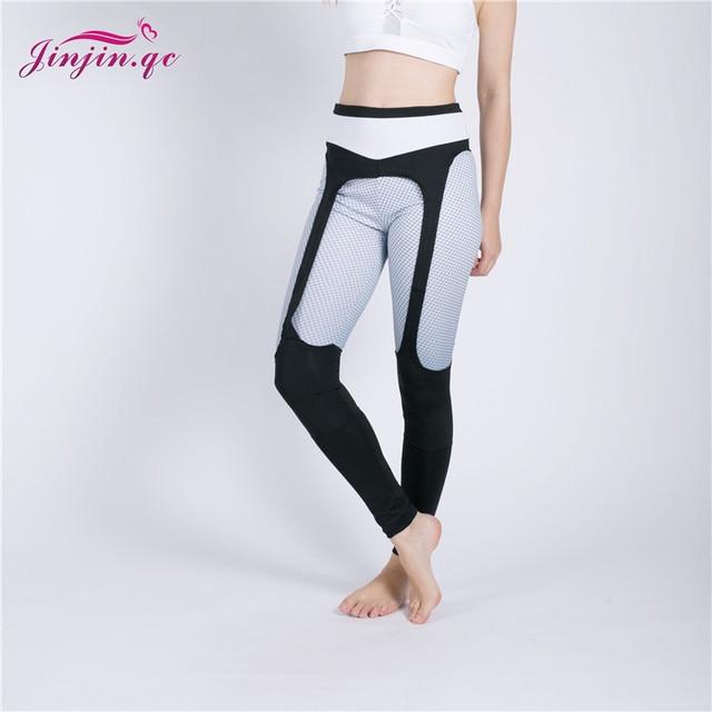 Jinjin.QC Fashion Patchwork Leggings Women Sportswear Plaid Gradient Elastic Pants Push Up Fitness Leggins Drop Shipping