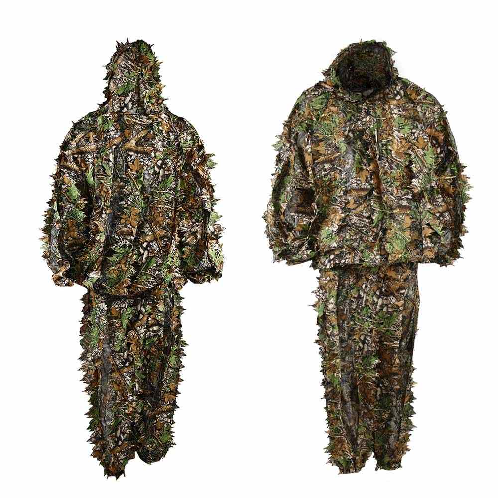 6f9c08536f9c7 3D Camouflage Hunting Clothes Ghillie Suit Woodland Jungle Tactical Army  Sniper Suit For Hunting Set Kit