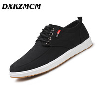 DXKZMCM 2018 Spring Summer Casual Shoes Mens Canvas Shoes For Men Lace Up Brand Fashion Flat