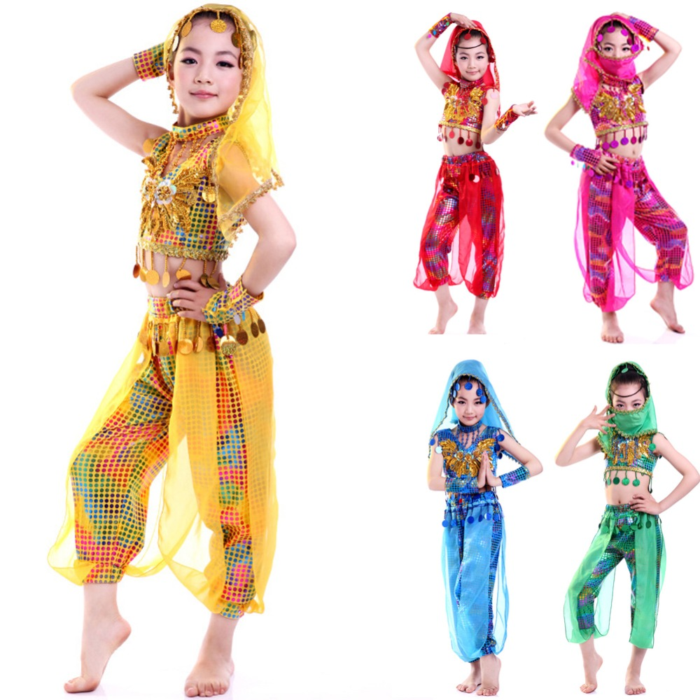 Girls Belly Dance Wear Clothes Kids Dance Costume Indian Dance Wear for Children 4pcs Set dance is for everyone