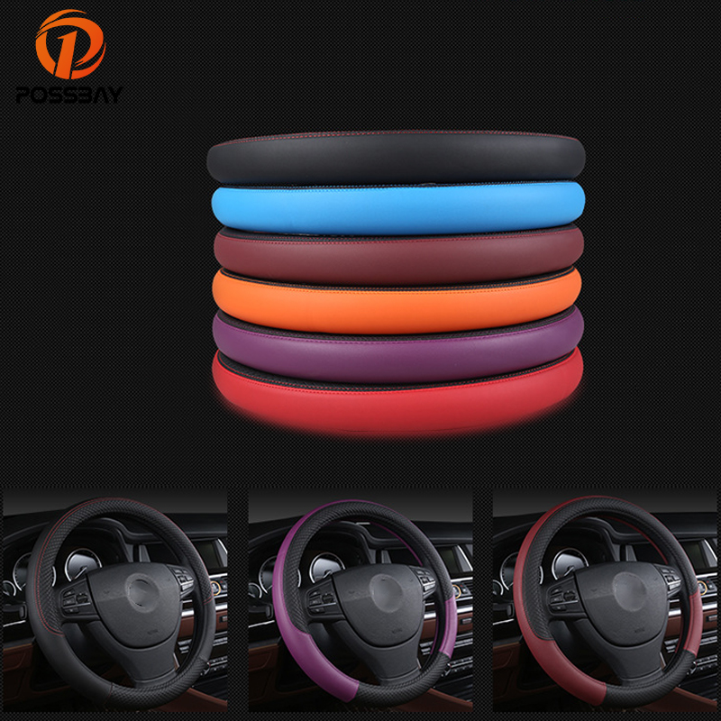 POSSBAY Black/Red/Purple/Blue/Wine Red Leather Car Steering Wheel Cover 38cm for BMW E46 E39 330i 540i 525i 530i 330Ci