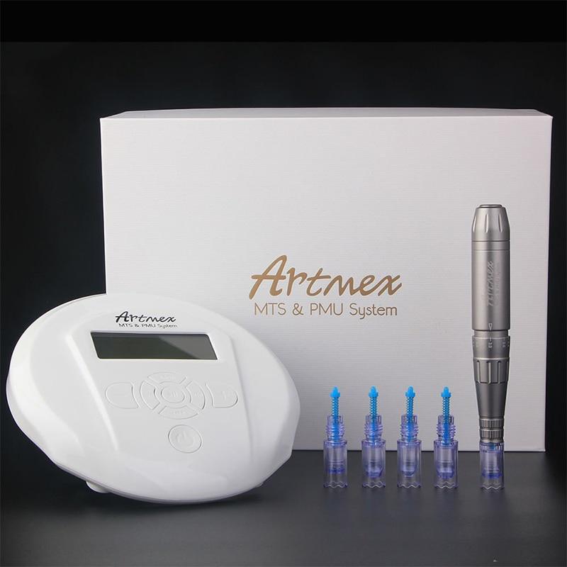 Permanent Makeup Eyebrow Tattoo machine, Digital Control Panel Micropigmentation Device Lip Rotary Pen + needle Artmex V6